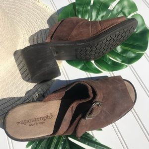 Apostrophe Leather Slide in People Toe Mule